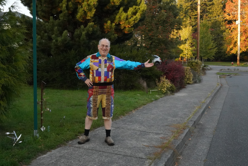 Man Wearing Colorful Clothing On Fall Day